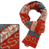 Unisex Chic Khaki Orange Letters Pattern Knitted Long Scarf