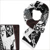 White Brown Colorblock Deer Pattern Knitted Long Scarf for Unisex