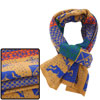 Man Woman Blue Yellow Deer Pattern Colorblock Reversible Knitted Scarf