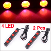 DC 12V 2 x 3W 4 LED Car Daytime Running Light DRL Lamp Red 2 Pcs