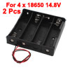 2 Pcs Black Plastic Battery Holder Case w Wire for 4 x 18650 14.8V Batteries