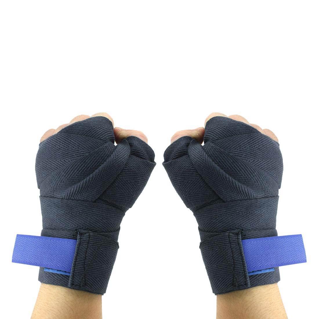 2.2M Hook Loop Closure Design Texturing Dark Blue Kickboxing Hand Wraps 2pcs