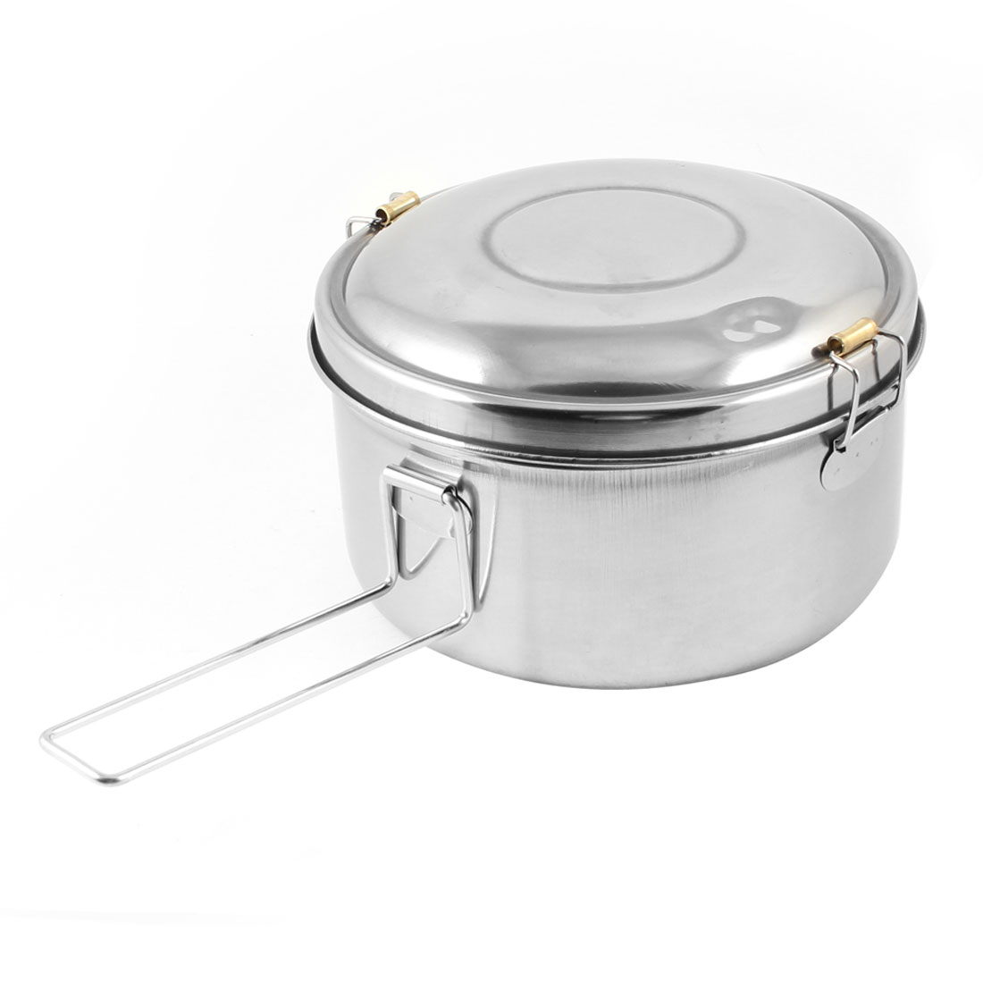 "5.3"" Dia Silver Tone Dual Layers Food Container Dinner Lunch Box Bucket w Handle"