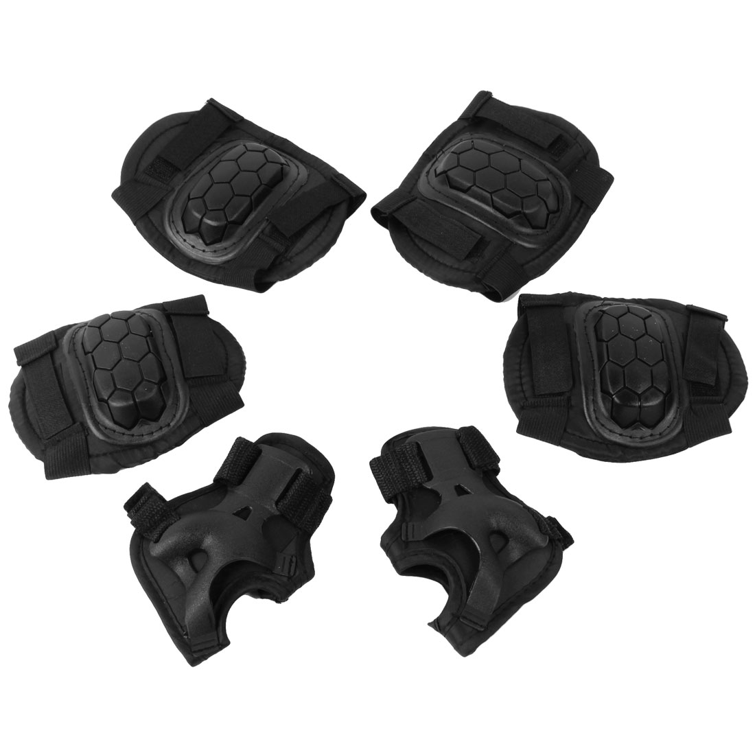 Black Skating Protective Elbow Knee Palm Support Pad Protector 3 Pairs for Kids