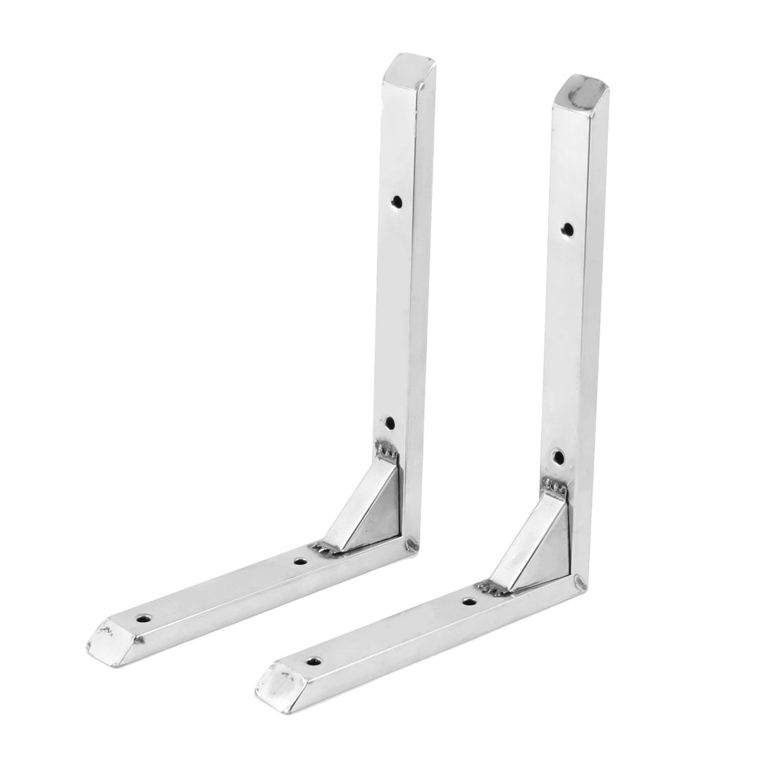 2 Pcs Stainless Steel 90 Degree 20cm x 15cm Wall Mounting Support Shelf Angle Bracket