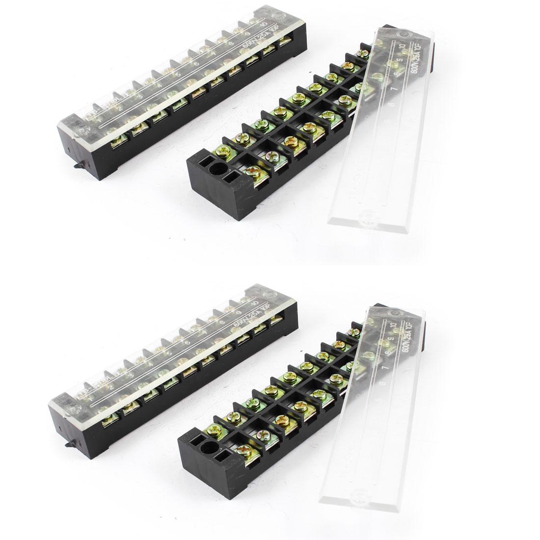 25A Dual Row 10P Screw Connector Electric Barrier Terminal Block Strip 4 Pcs