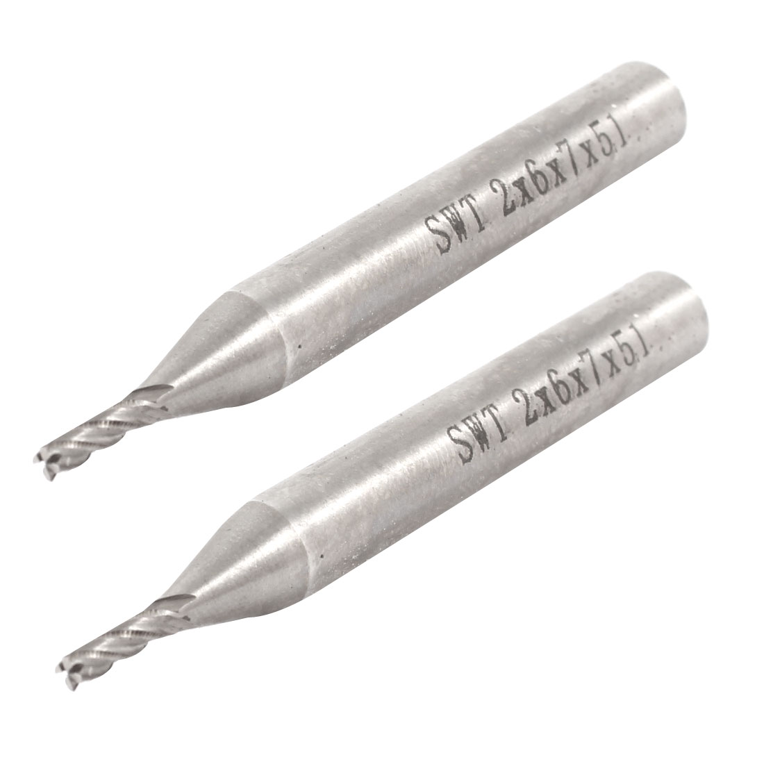 Straight Shank 2mmx6mmx7mmx51mm Cutting Milling Cutter 4 Flutes End Mill