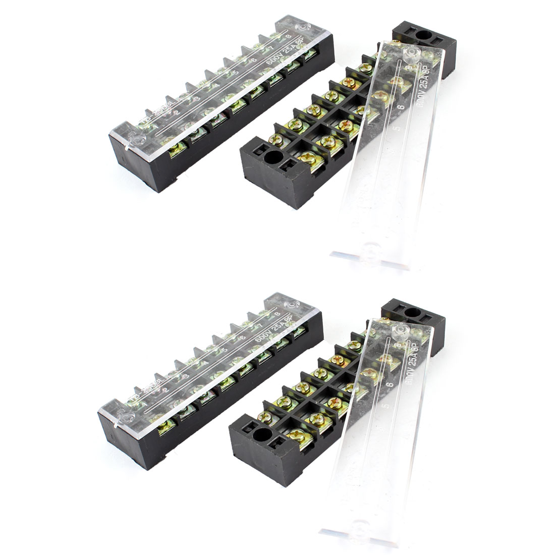 4 Pcs Dual Row 8 Position Covered Screw Terminal Block Strip Black 600V 25A