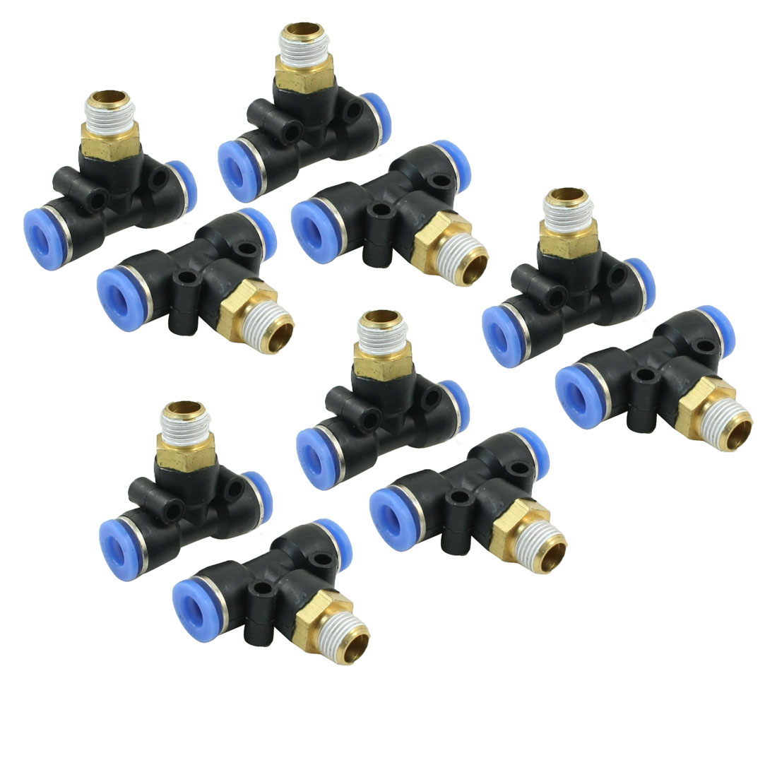 "10pcs Pneumatic 8mmx1/8""PT Male Thread T Design 3 Way Connector Quick Coupler"