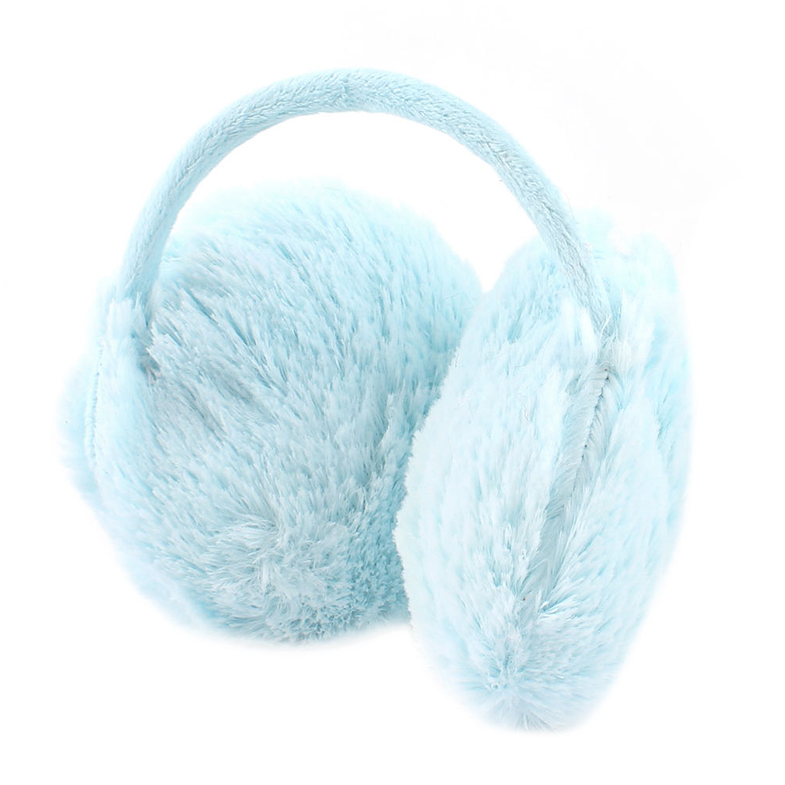 Lady Metal Frame Plush Earlap Ear Warmer Back Earmuffs Baby Blue