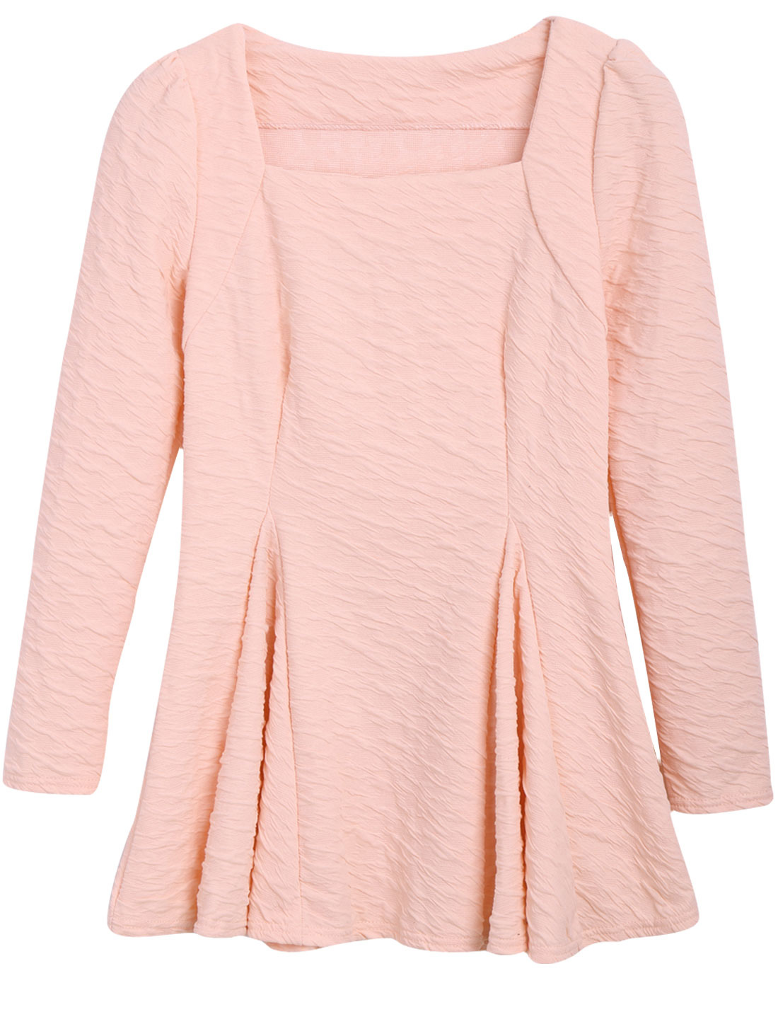 Pullover Light Pink Square Neck Long Sleeve Peplum Top for Lady XS