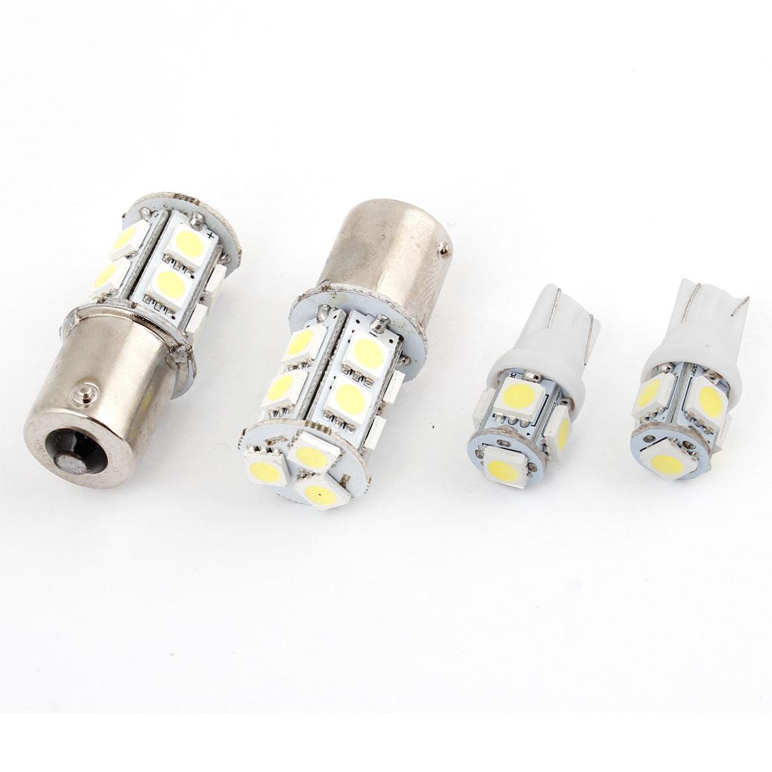 2Pcs Auto 1156 5050 13 SMD LED White Panel Light w 2 Pcs T10 5 LED Lamp internal