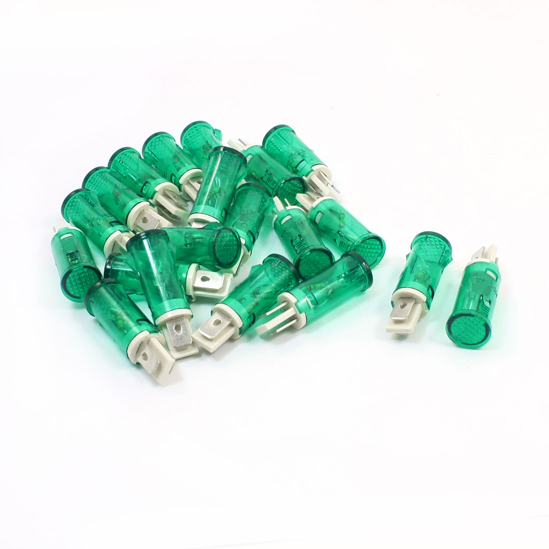 AC 220V 2 Terminal Neon Indicator Lamp Pilot Lights Green 20 Pcs