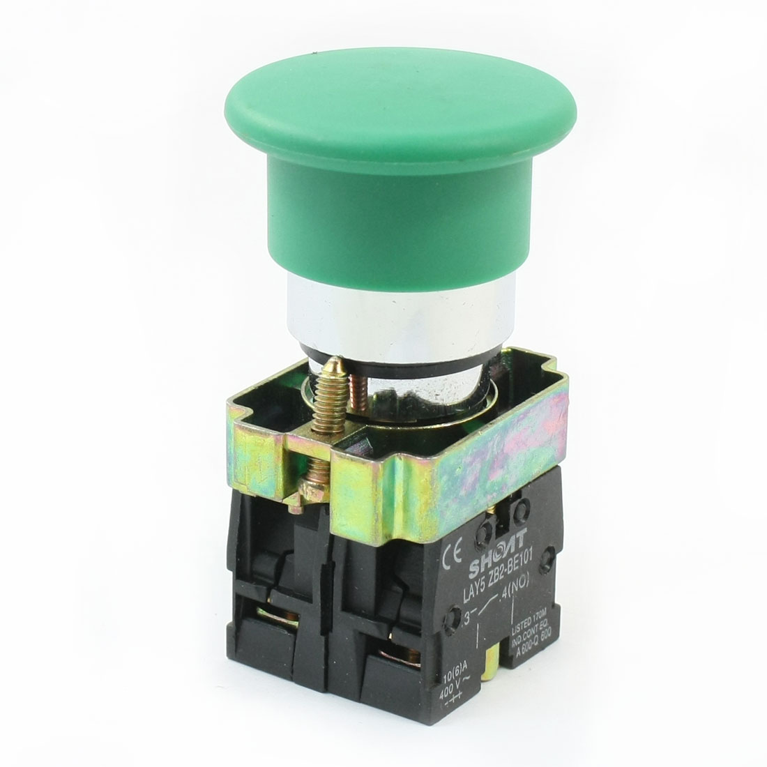 Panel Mount Green Mushroom Cap Momentary DPST Button Switch 10A/6A 400VAC