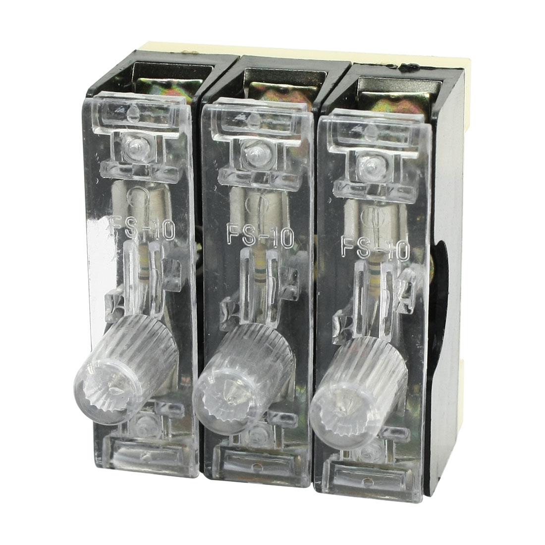 3 in 1 FS-10 250V 10A Single Pole 6 x 30mm Fuse Holder Base