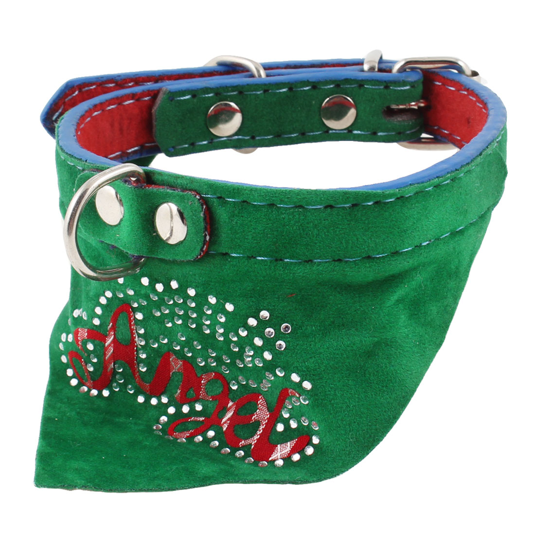Single Pin Buckle Letters Printed Adjustable Bandana Collar Green for Pet Dog
