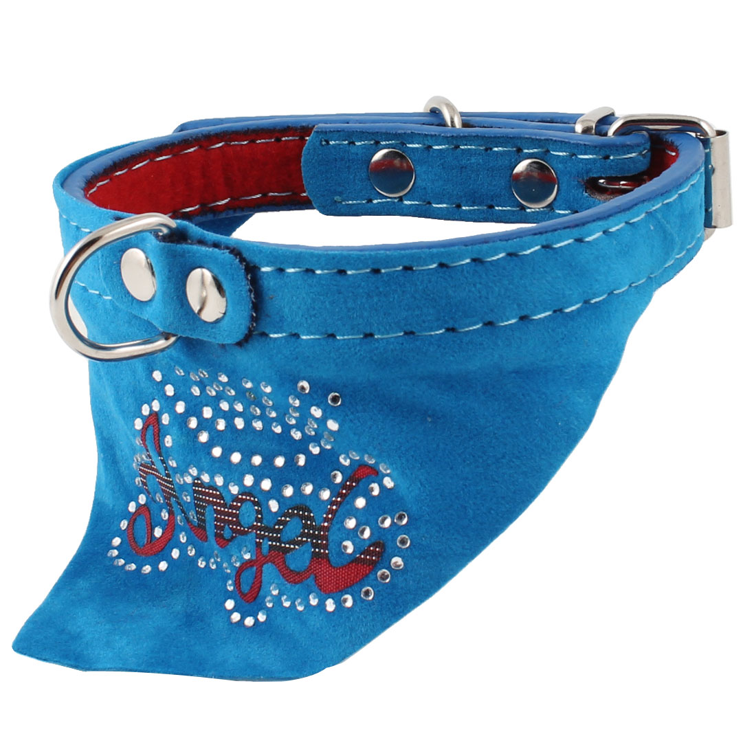 Pet Dog Doggy Single Prong Buckle Letter Pattern Bandana Collar Necklaces Blue