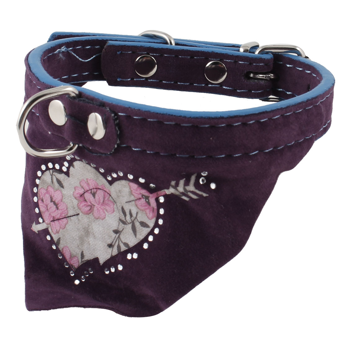 Pet Dog Single Prong Buckle Rhinestone Decor Triangle Bandana Collar Purple