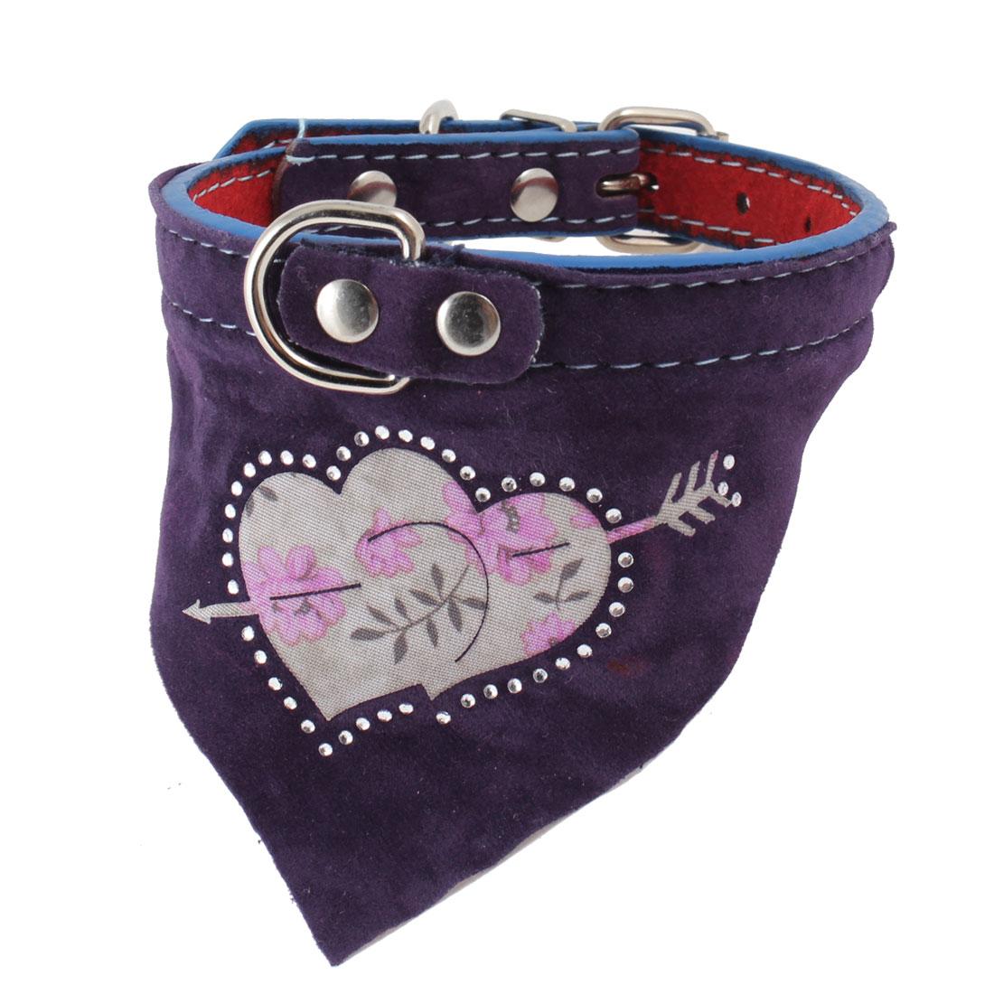 Single Pin Buckle Floral Pattern Adjustable Bandana Collar Purple for Pet Dog