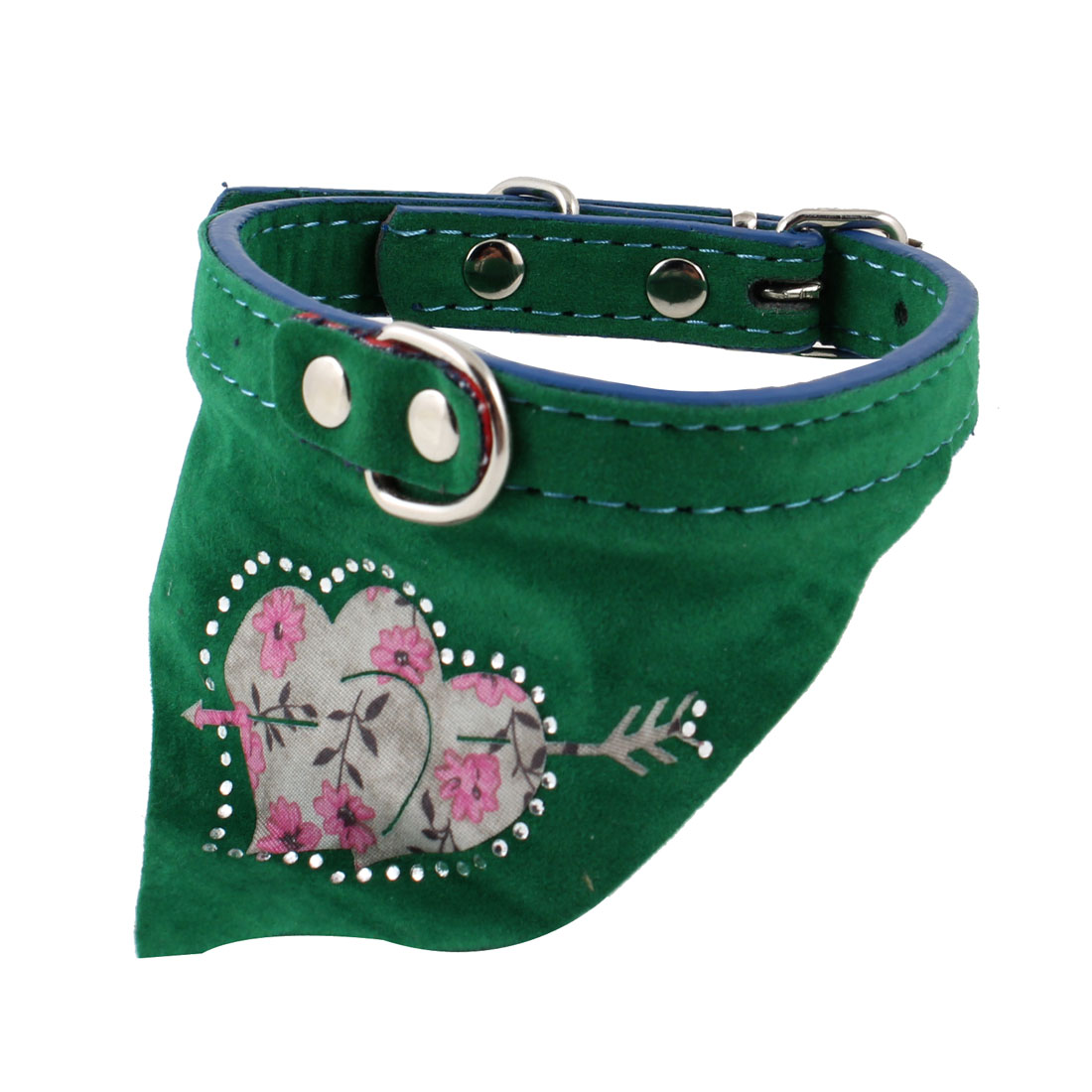 Pet Dog Doggy Single Prong Buckle Triangle Scarf Bandana Collar Necklaces Green
