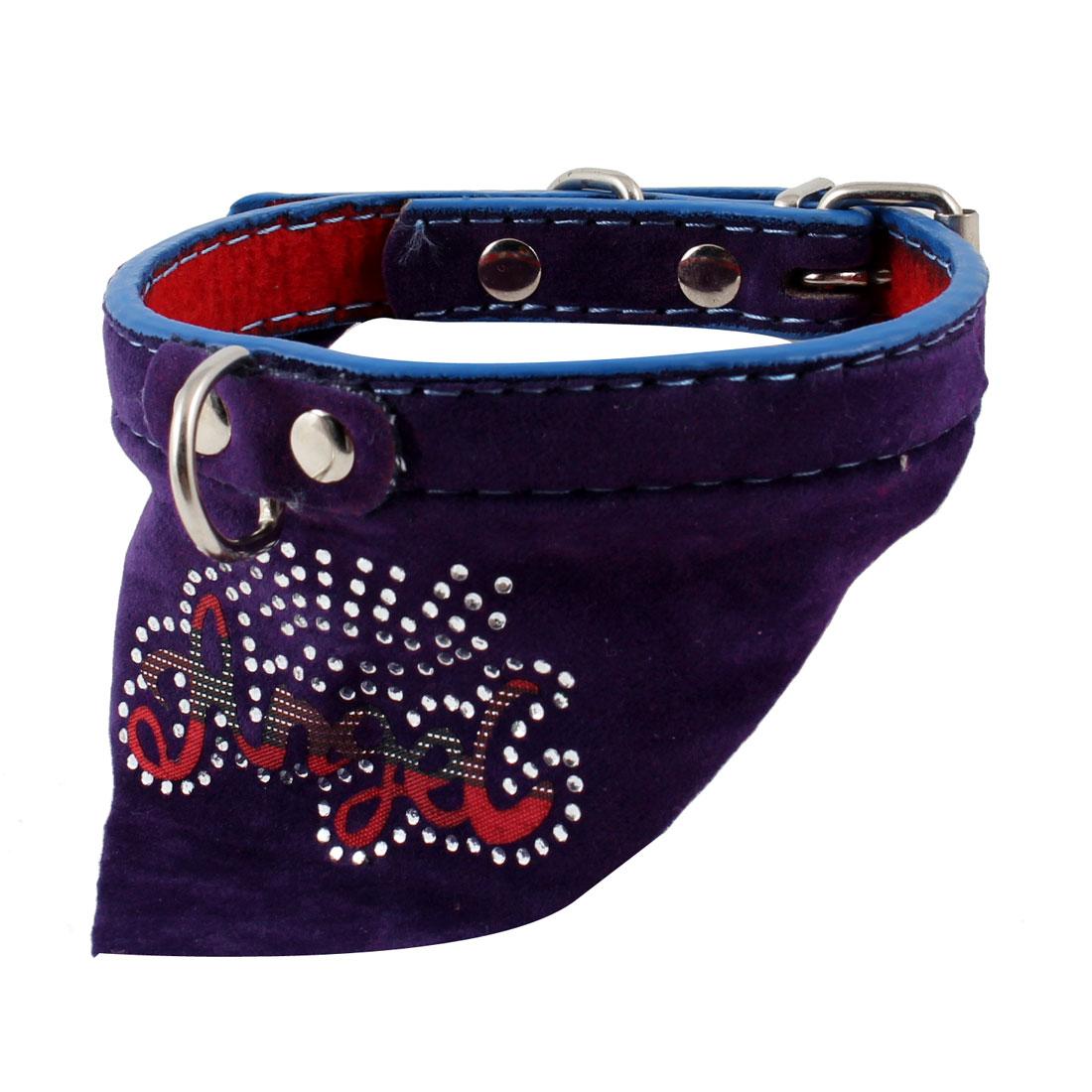 Purple Shiny Faux Rhinestone Decor Triangle Bandana Collar Scarf for Pet Dog