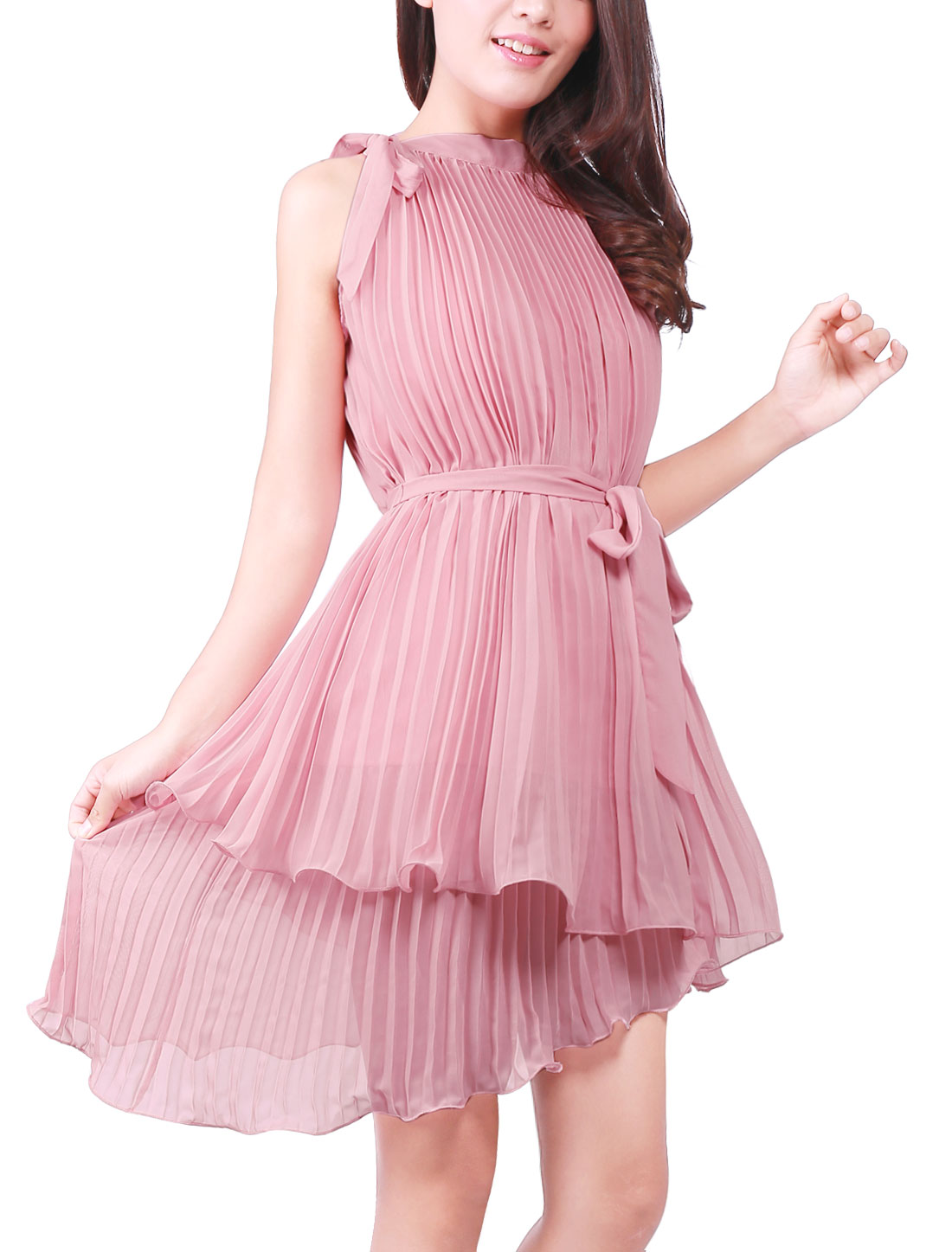 Women Stanr Collar Accordion Pleated Design Chiffon Dress Pale Pink M
