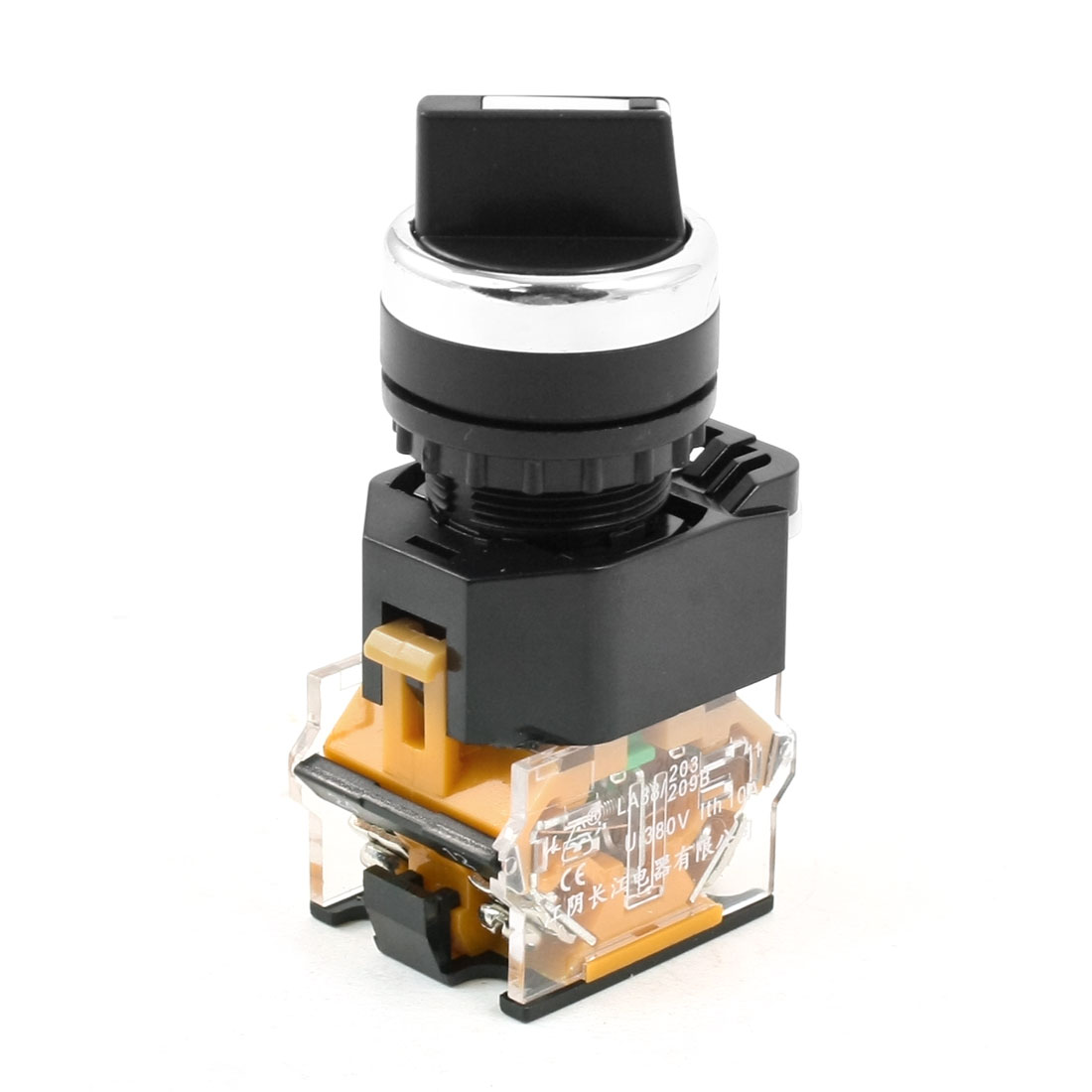380V 10A 2NO 3-Position Black Top Selector Self-Locking Rotary Switch