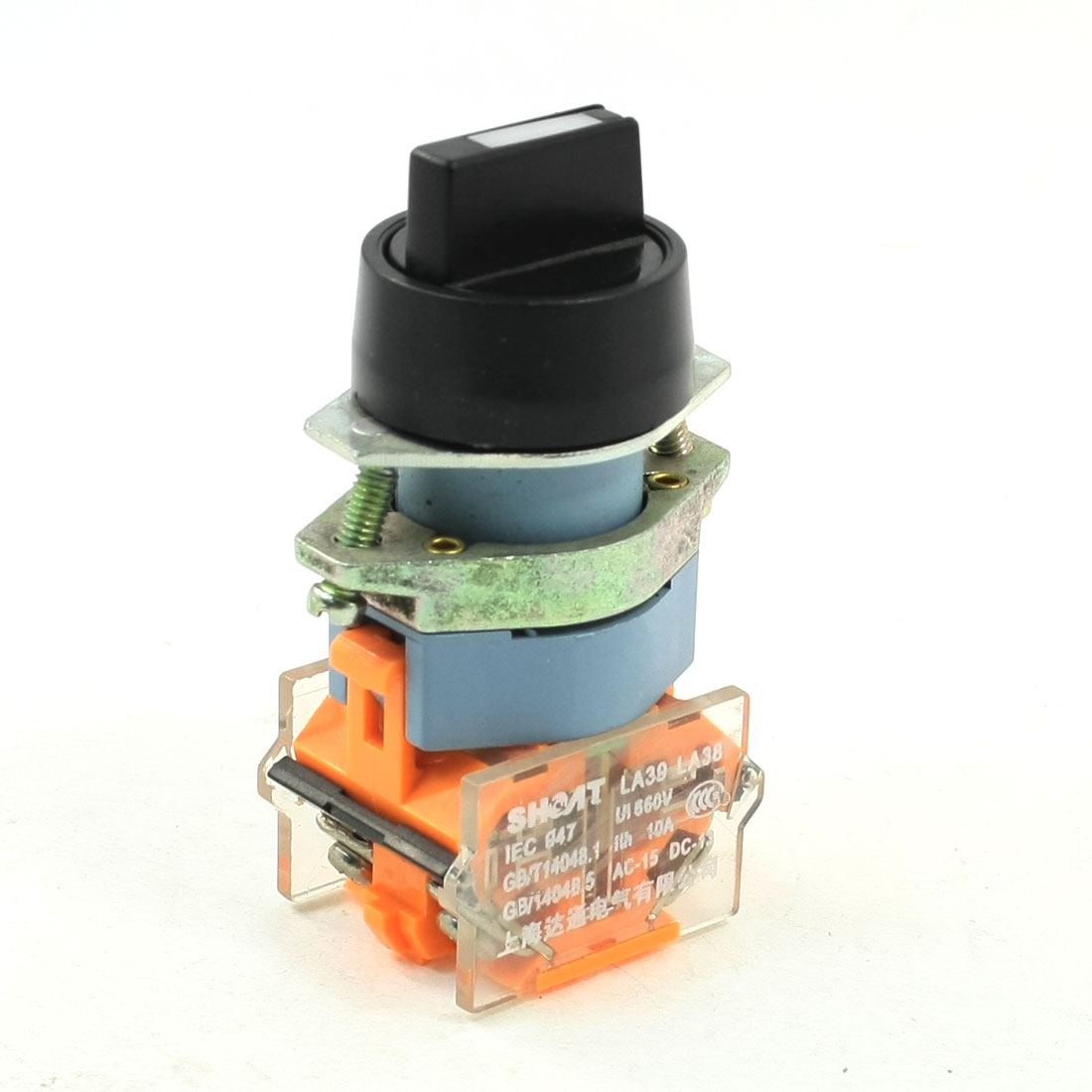 660V 10A 2NO Black Cap 3 Positions Selector Latching Rotary Switch