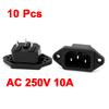 10 Pcs IEC320 C14 Inlet 3 Pin Socket Adapter AC 250V 10A for Rice Cooker