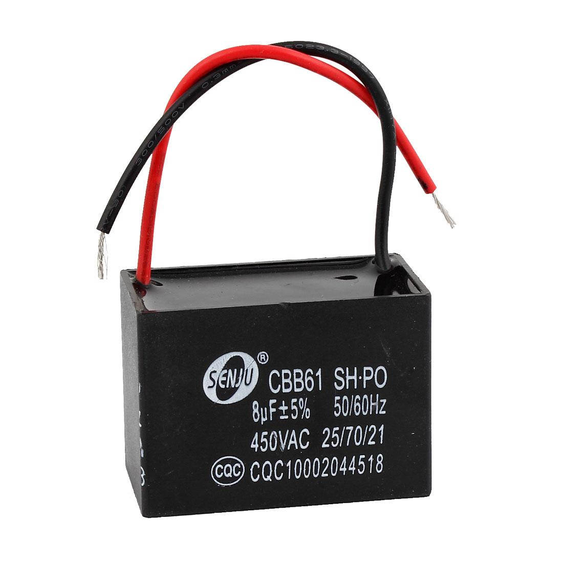 Black 8uF Capacity AC 450V Fan Motor Running Rectangle Capacitor CBB61