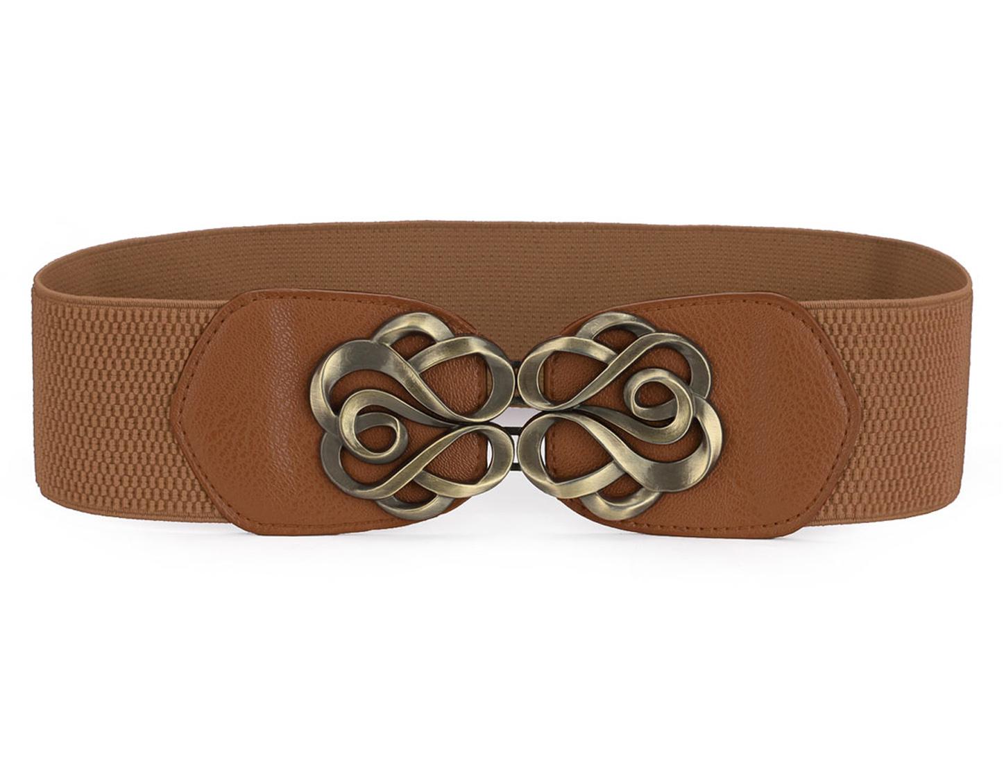 Lady Bronze Tone Flower Interlock Buckle Style Textured Elastic Cinch Belt Brown