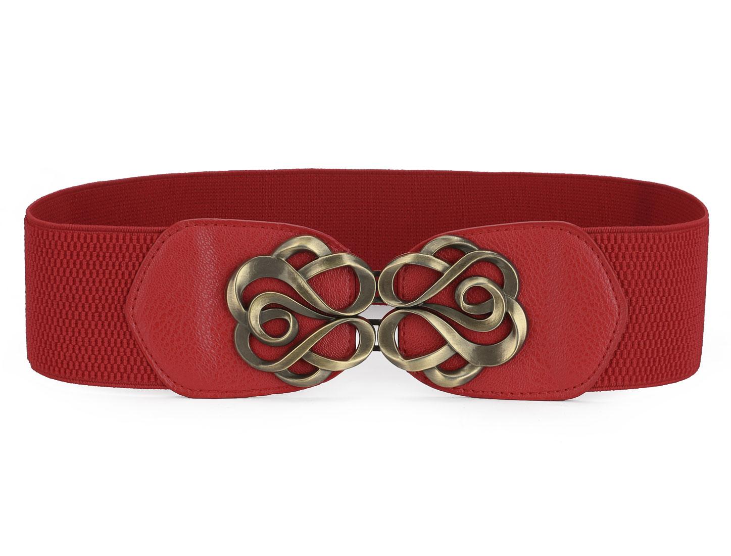 Woman Bronze Tone Flower Interlock Buckle Style Textured Elastic Cinch Belt Red