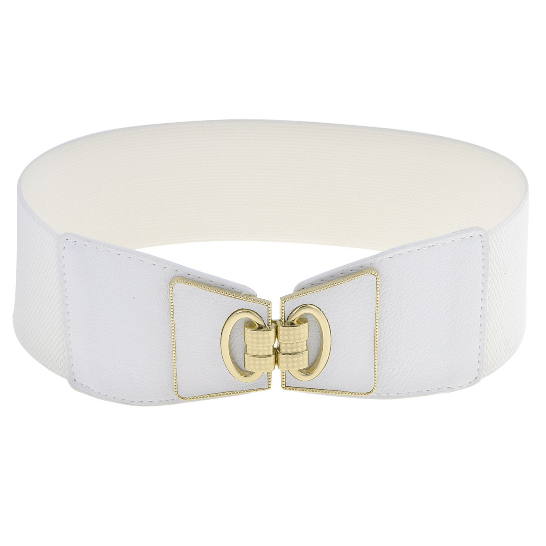Women White Faux Leather Buckle Part 7.5cm Width Stretchy Band Cinch Belt