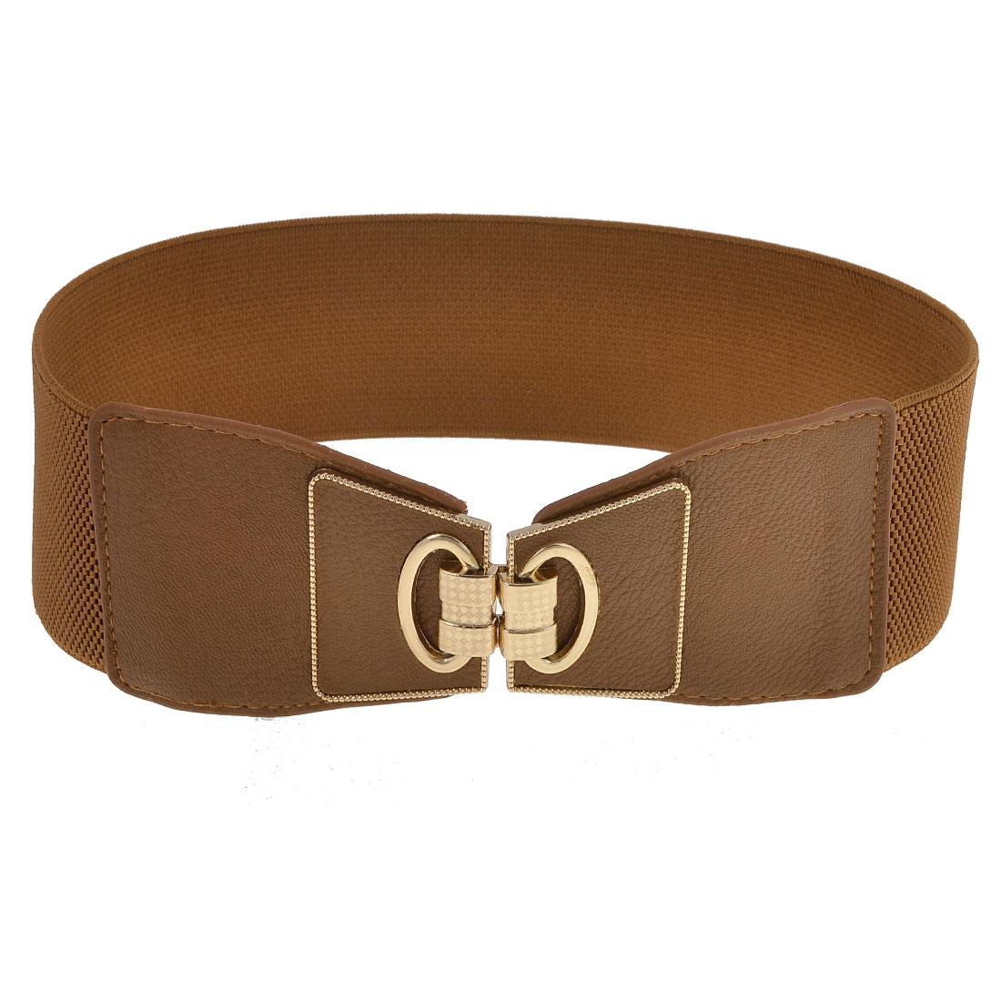 Ladies Interlocking Buckle Brown Stretch Waistband Cinch Belt Dress Decor