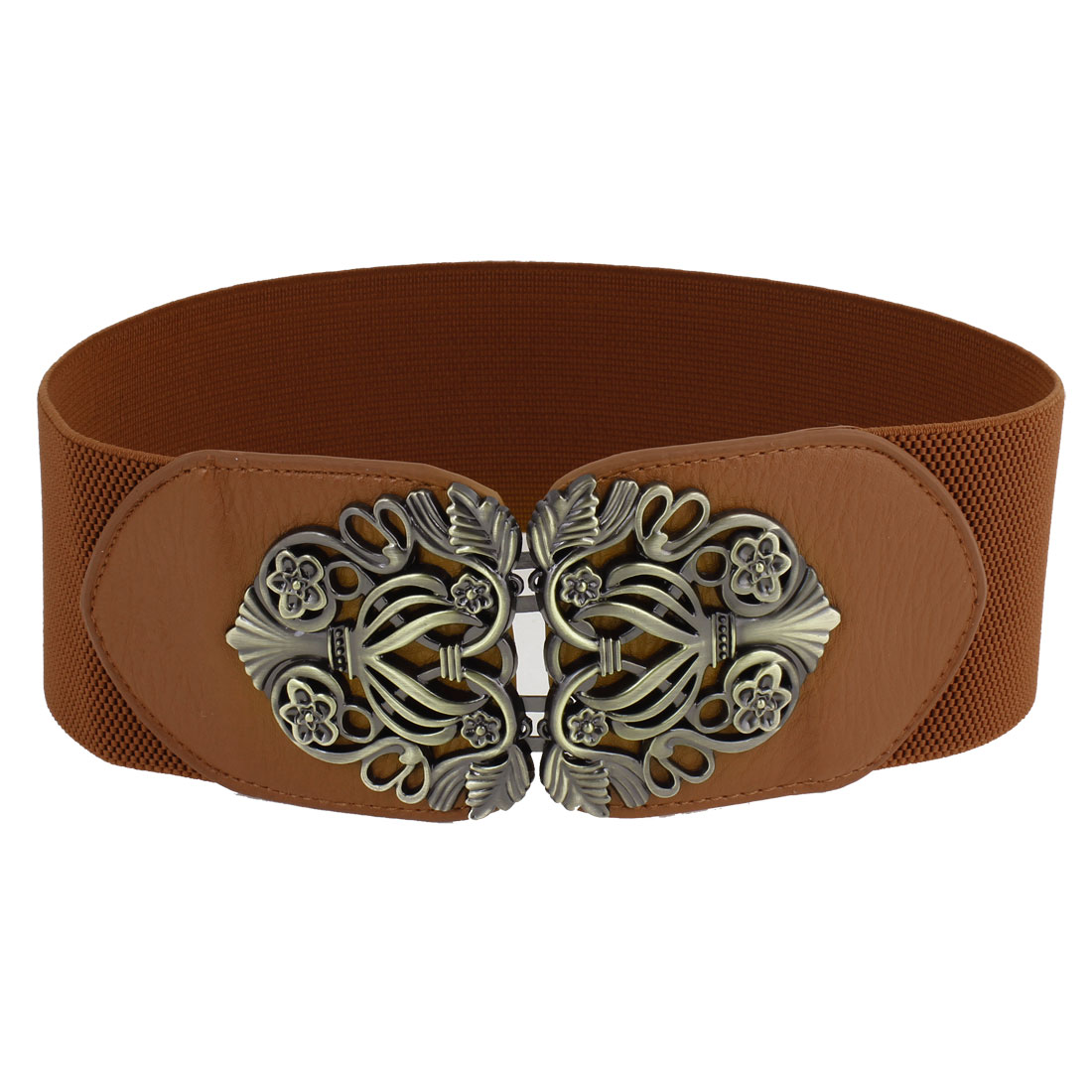 """Retro Style Interlocking Closure Stretchy Belt 3"""" Width Brown for Woman"""