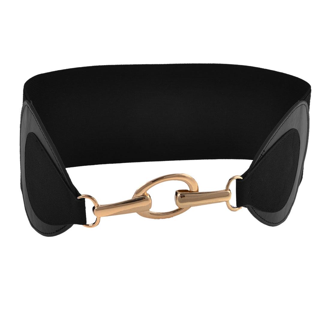 Ladies Metal Chain Design Hook Closure Black Textured Stretch Band Cinch Belt