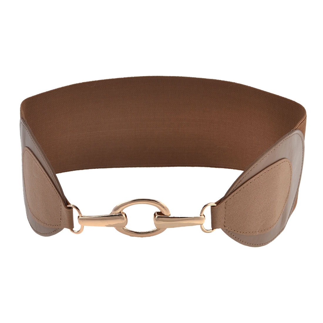 Woman Gold Tone Chain Hook Closure Brown Stretchy Band Cinch Belt Dress Decor