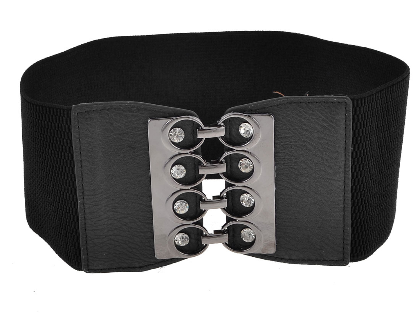 Faux Leather Buckle Part 10cm Wide Black Textured Waistband Cinch Belt for Women