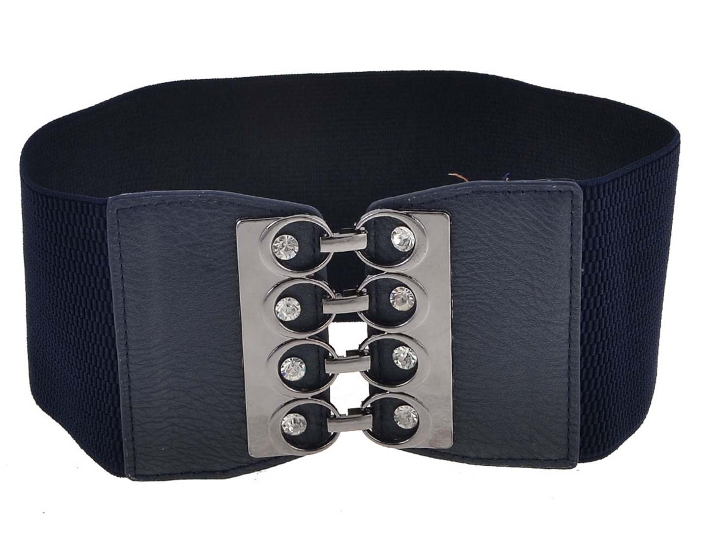 Faux Leather Buckle Part 10cm Wide Navy Blue Textured Band Cinch Belt for Women
