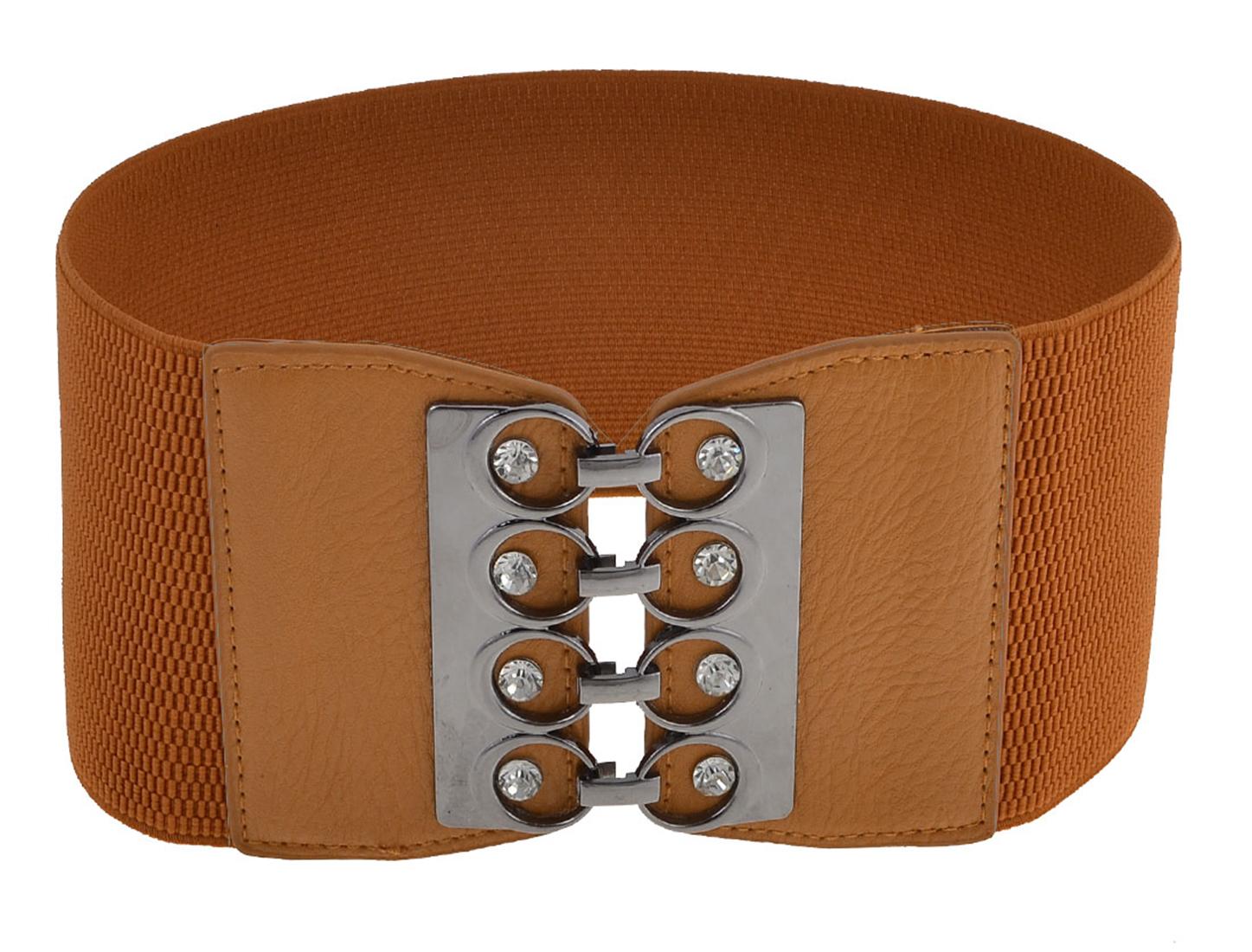 Ladies Glittery Rhinestones Detail Interlocking Buckle Elastic Cinch Belt Brown
