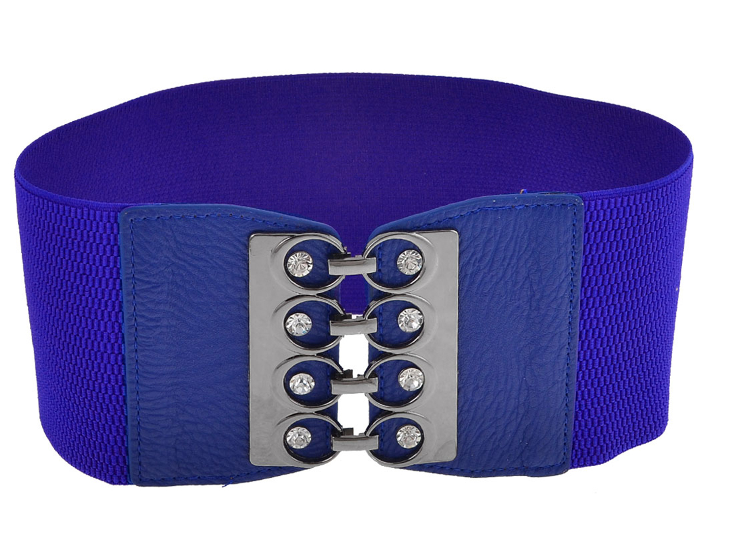 Ladies Glittery Rhinestones Detail Interlock Buckle Elastic Cinch Belt Dark Blue