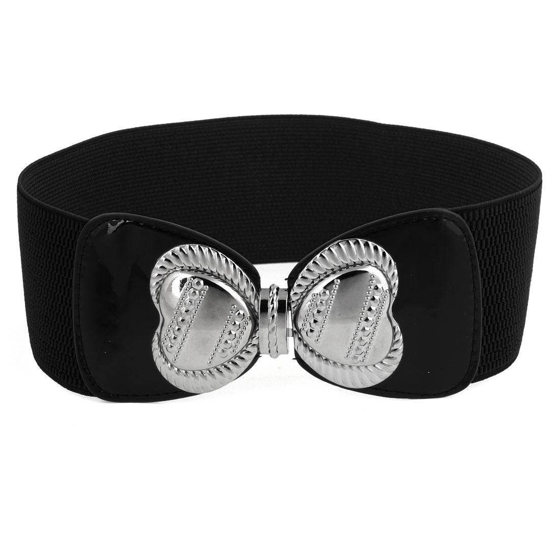 Woman Metal Bowknot Interlocking Closure Stretchy Belt 7.5cm Wide Black Gray