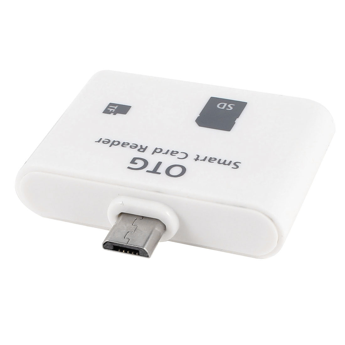 White OTG Smart Phone Pad Micro USB SD T-Flash Card Reader