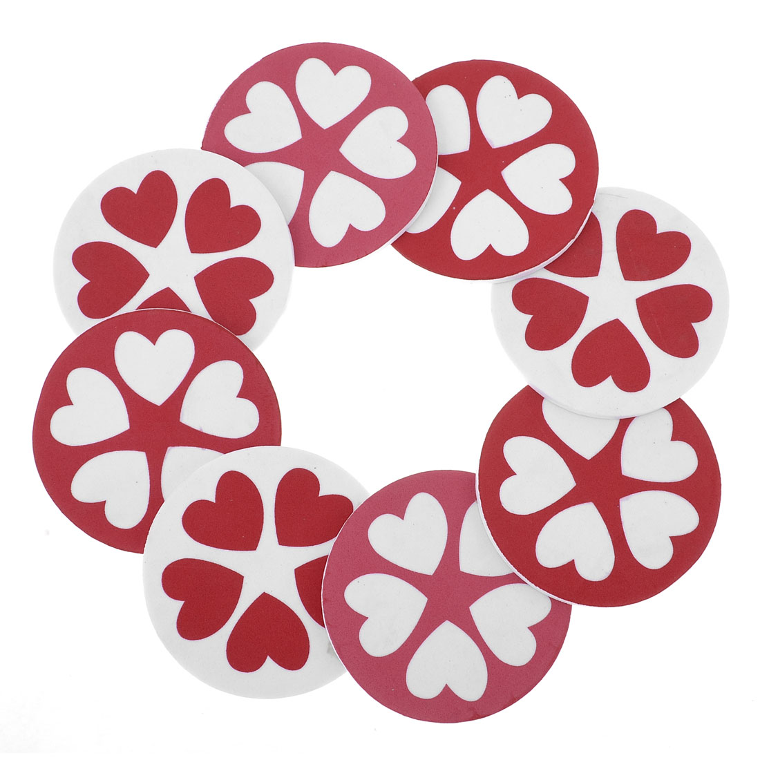 Room Decor Red White Heart Pattern 3D Garland Foam Wall Sticker