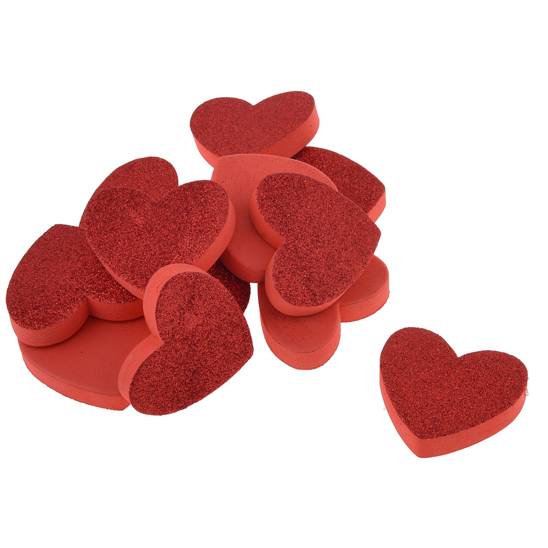 Room Decoration Adhesive Foam Heart Shaped 3D Wall Sticker Red 12 Pcs