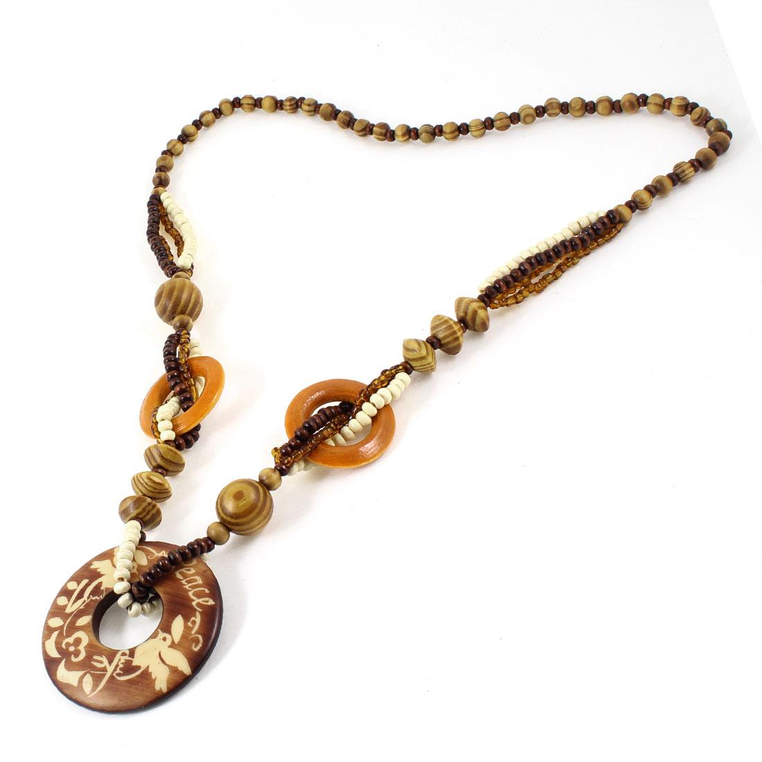 "Women Round Wooden Sweater Necklace Chain Brown 34"" L"