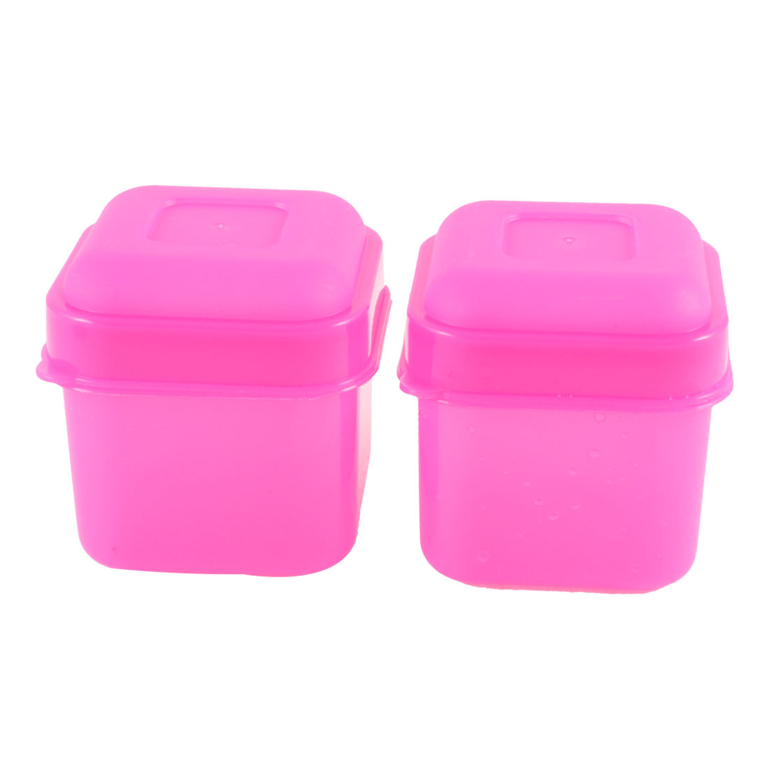 2 Pcs Fuchsia Plastic Square Mini Preservation Keeping Fresh Box 100ml