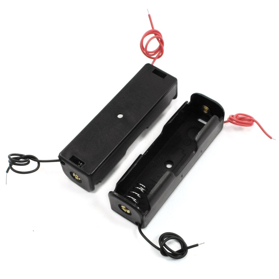 2 Pcs Black 1 x 3.7V 18650 Battery Holder Storage Case Box w Wire