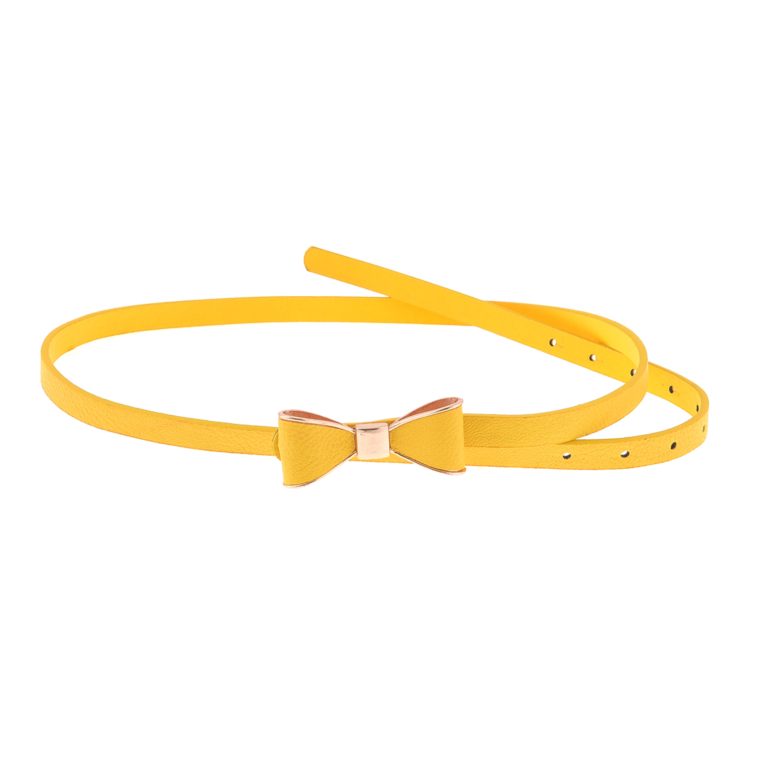 Metal Press Buckle Litchi Print Faux Leather Waist Belt Yellow for Woman
