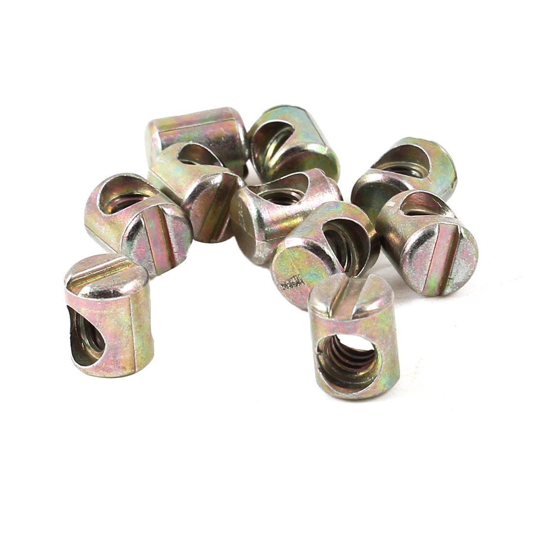 Furniture Fitting 4.5mm Female Thread Cross Dowel Barrel Bolts Nut 10 Pcs